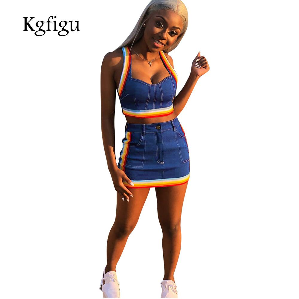 KGFIGU Two Piece Set 2018 Summer Women Crop Tops And Mini Skirts Sets Blue  Denim Outfits Set Women Matching Sets UK 2019 From Honjiao 9e75eed35042