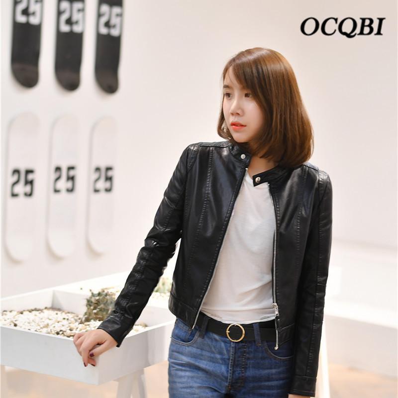 Koreanischen Stil Frauen Kurze Mantel Bomber Jacke PU Motorrad Mode Street Parkas Schwarz Jacke