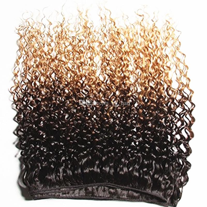 أومبير براون شقراء الشعر البشري 3 حزم مع إغلاق الدانتيل 1B 4 27 غريب مجعد الشعر ينسج مع إغلاق الدانتيل