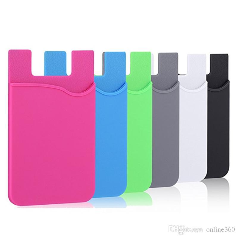 휴대 전화 지갑 신용 카드에 대 한 실리콘 접착제 스틱 온 지갑 케이스 스마트 폰 S8에 대 한 울트라 슬림 이드 홀더 지갑 파우치 슬리브 주머니
