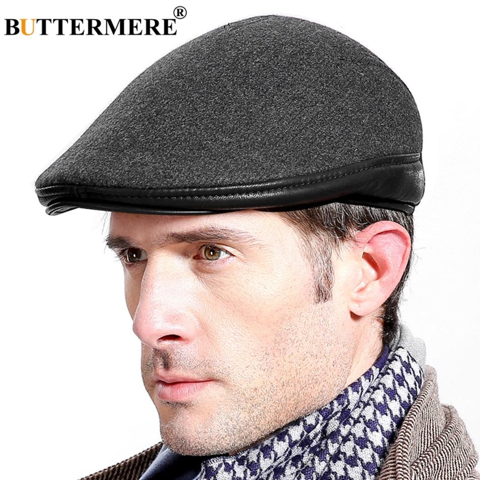 6c15b4a07e8 BUTTERMERE Winter Beret Cap For Men Wool Gray Flat Cap Male Thick ...