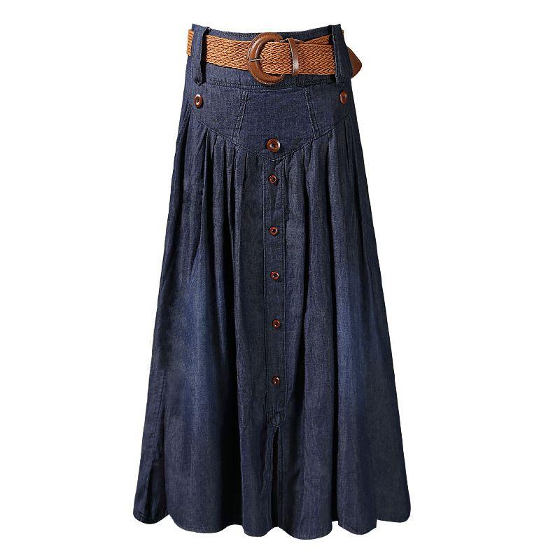 23613286d0 Compre Faldas Largas De Cintura Alta Mujeres Jeans Maxi Faldas Con Cinturón  Faldas De Mezclilla Plisadas Botón Tamaño Grande S M L XL XXL 3XL 4XL 5XL  6XL ...