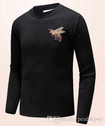 8c03a5480e Compre Buen Precio Ropa De Marca De Invierno Hombre De Punto Suéter Bee  Print Otoño Pullover Hombres Algodón O Cuello Suéteres Para Niños Negro  Gris A ...