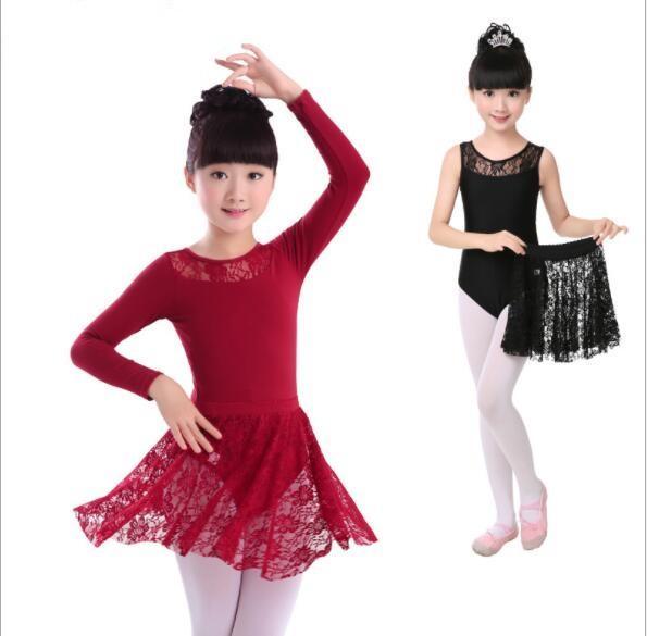 f72f19ec11 Compre Crianças Meninas Ballet Dança Dancewear Ginástica Leotard Saia De  Renda Tutu Strap Vestido De Algodão Lycra Lace Black Tank Dança Collant De  Honhui