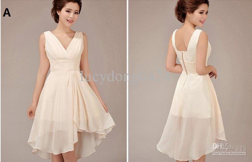 Çikolata Stil Bir US2 Yeni Ucuz Zarif Özel Halter Diz Boyu Gelinlik Modelleri / Düğün Elbiseleri