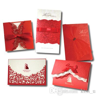 Sample Romantic Wedding Invitation Card Delicate Carved Flowers
