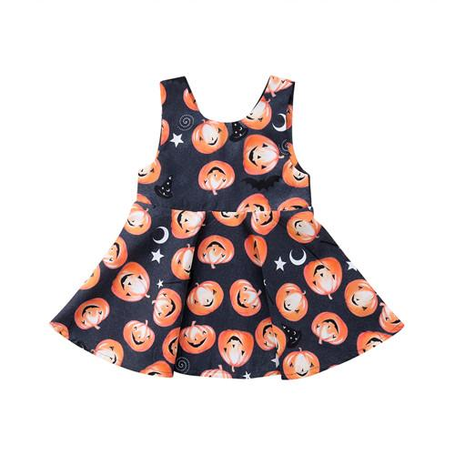 0-3Y Newborn Infant Kids Baby Girls Dress Halloween Pumpkin Cotton Sleeveless Backless Princess Dress Outfits Baby Clothes