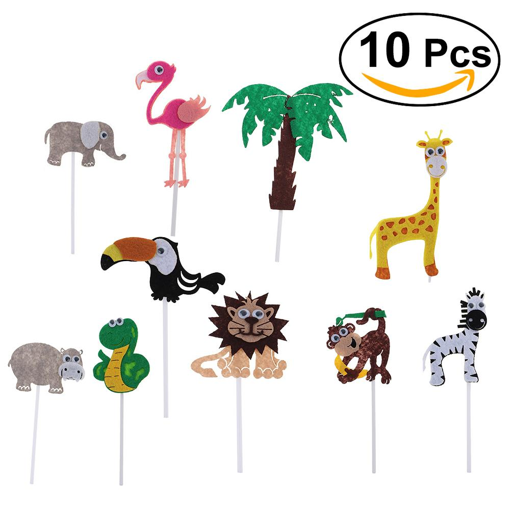 2019 Cute Cartoon Jungle Animals Cake Toppers Picks For Wedding Birthday Cupcake Decorations Supplies Monkey Giraffe Zebra From Aldrichy
