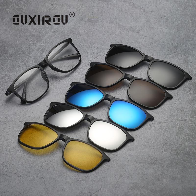 f7fadca16f 2019 New Fashion Sunglass Men Women Goggles Eyeglasses Frames Polarized  Magnetic 5 Clip On Tinted Glasses Male Driving Spectacle 2263 From  Handanxuebu