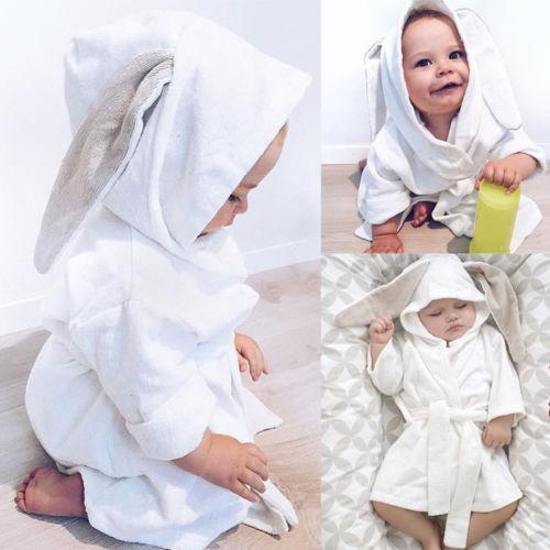 2018 New 3D Rabbit Ears Sleepwear Cute Boy Girl Animal Baby Bathrobe ... c687b3a9d