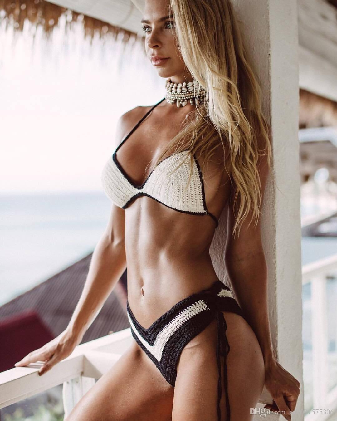 2019 Black With White Crochet Bikini Set Crochet Swimsuit Bathing