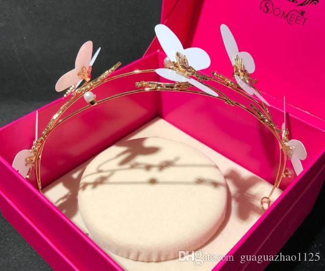 Kore Gelin Düğün şapkalar beyaz kelebek taç aksesuarları toptan