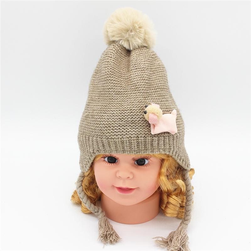 c633d4e10 2018 newborn Baby girl Crochet knit hat cap for winter warm toddler Kids  girls beanie hats with plait cute infant caps for girls