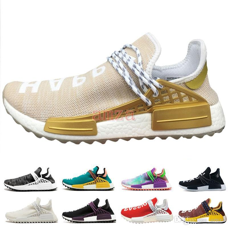 0c93a38eb6d 2018 Pharrell Williams HUMAN RACE Hu Trail Running Shoes Peace Passion  Youth Happy Chaussures Womens Mens Trainers Designer Sneakers 36 45 Winter  Running ...