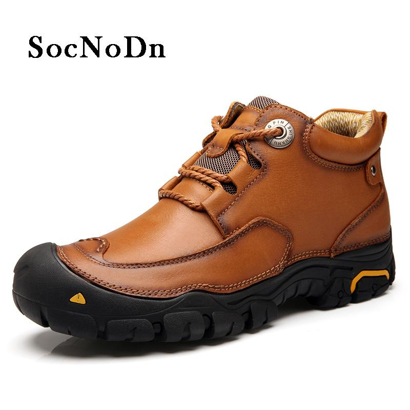 401cac34f70 SocNoDn Mens Boots Genuine Leather 2018 Spring Autumn Ankle Boot Male  Casual Leather Shoes Outdoor Work Shoe Soft Shoes Online Combat Boots From  Xiamenshoes ...