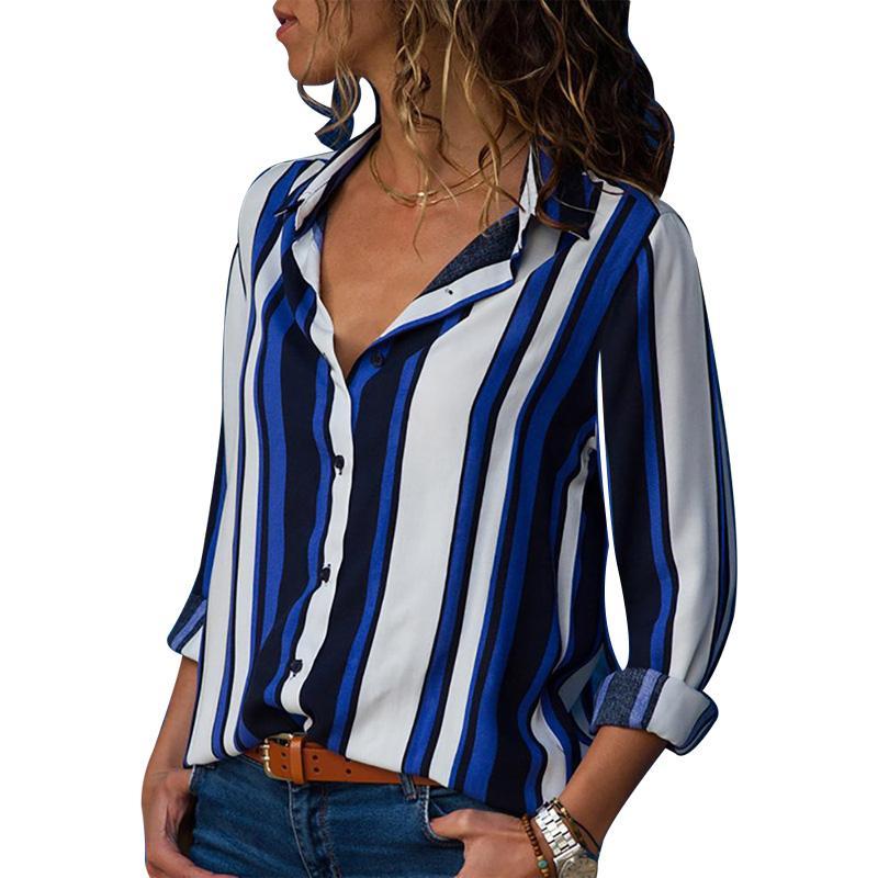 f9f29e953 Compre Nueva Llegada 2018 Moda Blusa De Rayas Mujeres De Manga Larga Botón  Camisa Tops Y Blusas Casual Blusas Camisas Feminina BTS XY370 A  34.41 Del  ...