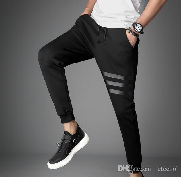 Mens Jogger Sweatpants Active New Fashion Skinny Pants Joggers Striped Pants Gyms Clothing Men Fitness Workout Sporting Trousers Hot sale