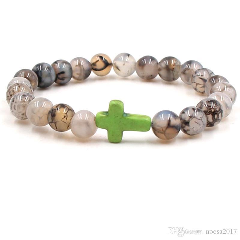 8mm transparent Natürliche Lava Kreuz Stein Gebetskette Charms Armbänder Anti-Müdigkeit vulkanischen Stein Stretch Armbänder Diffusor Schmuck