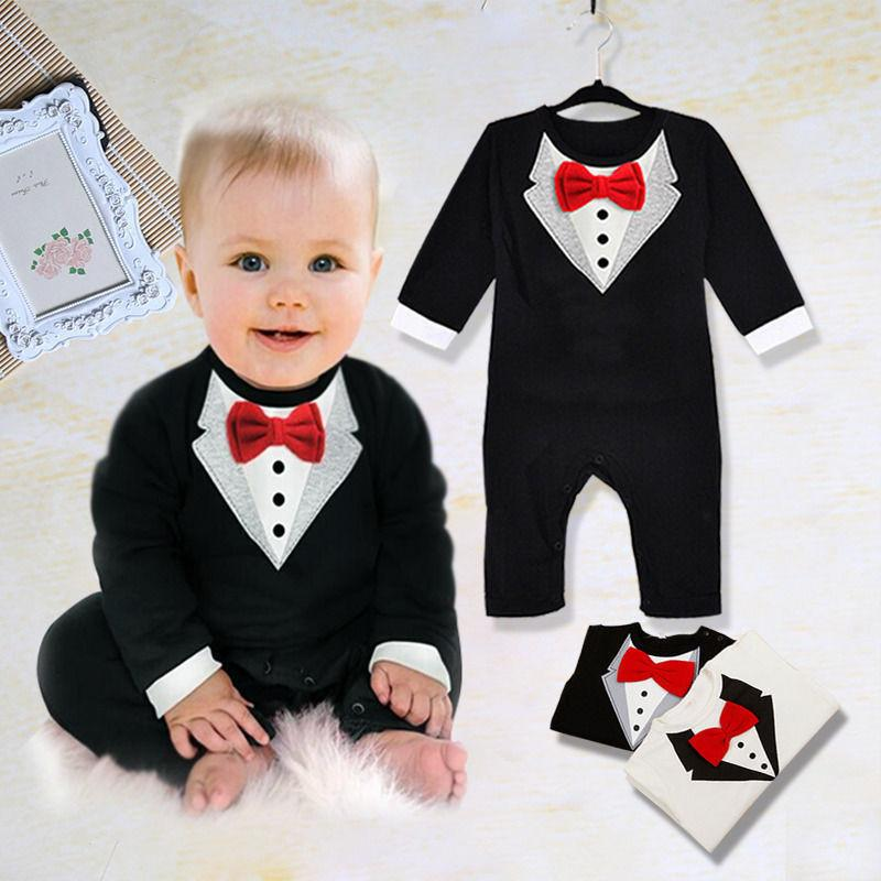 3cde92e1e3f 2019 Fashion Toddlder Newbore Baby Boy Formal Suit Party Wedding Tuxedo  Gentleman Short Sleeve Romper Jumpsuit Outfit Clothes Wear From Rainbowny