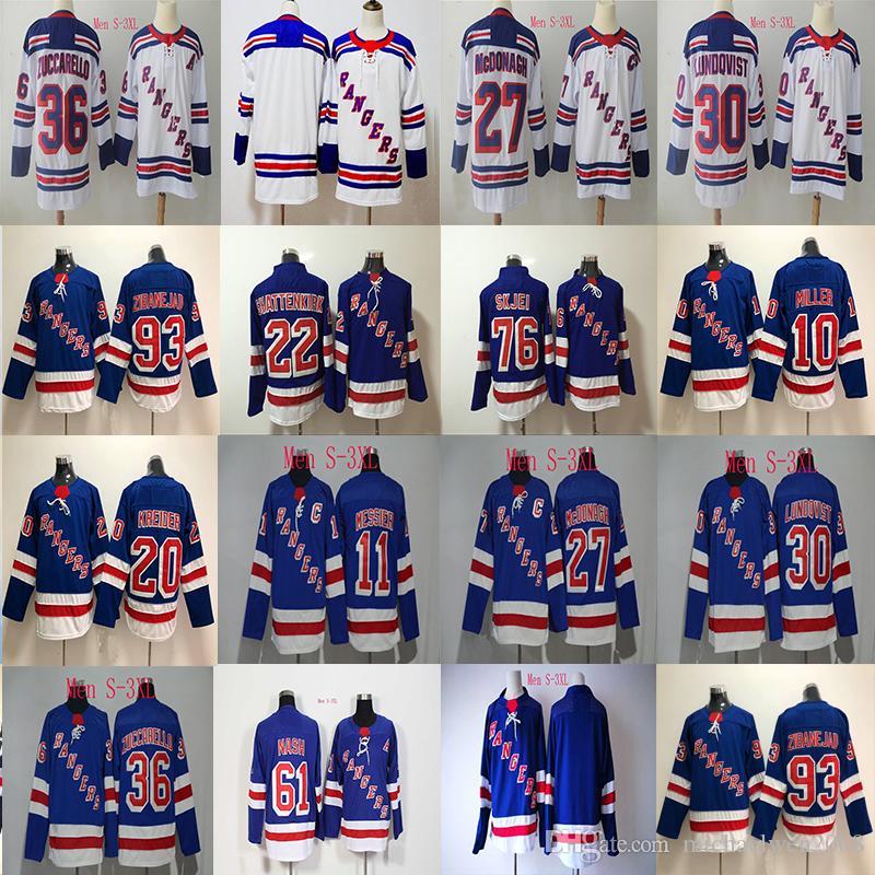 outlet store 53abf d19af 2018 New York Rangers Jersey 20 Chris Kreider 11 Mark Messier 61 Rick Nash  27 Ryan McDonagh 30 Henrik Lundqvist Hockey Jerseys Cheap