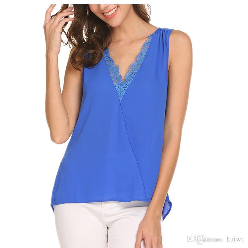 2ba4f5820cbf7 Women New Fashion Casual Deep V Collar Lace Vest Splicing Solid ...
