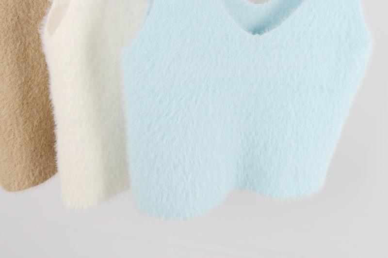 TingYiLi Ärmellos V-Ausschnitt Damen Weste Gestrickte Crop Top Pullover Weste Damen Mädchen Grau Khaki Blau Rosa Schwarz Weiß Kurz Top