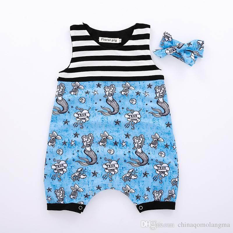 90622b4b4 Baby Girls Blue Mermaids Jumpsuit 2018 Girl Newborn Cartoon Romper ...