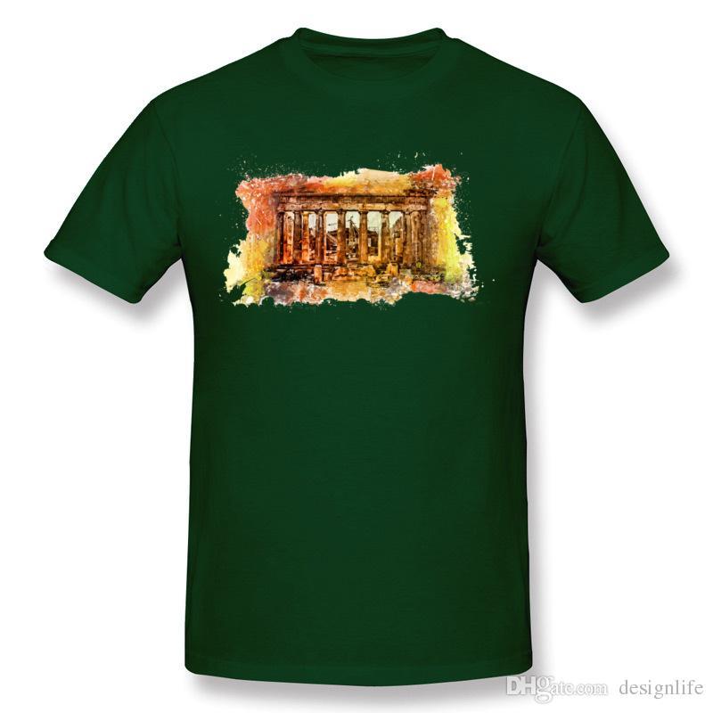 New Arrival Men's 100% Cotton The Acropolis Of Athens T-Shirt Men's Crew Neck Navy Blue Short Sleeve T Shirts Plus Size Crazy T-Shirt