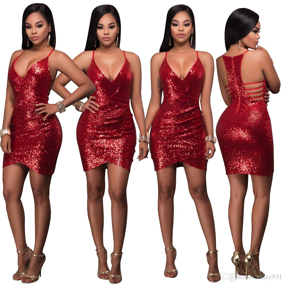 2019 Wholesale Ladies Dresses Sleeveless Sexy Party Dress Sequins Slim Skirt For Women Luxury Dresses Woman Designer Dresses From Crazy Dhgate