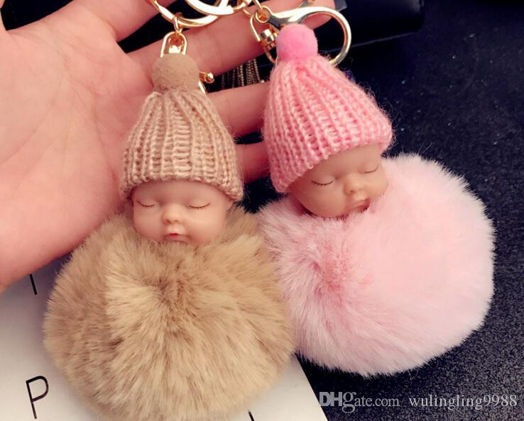 12 Farben Cute Sleeping Baby Doll Keychain Pompon Kaninchenfell Ball Schlüsselanhänger Auto Schlüsselring Frauen Schlüsselhalter Tasche Anhänger Charme Zubehör