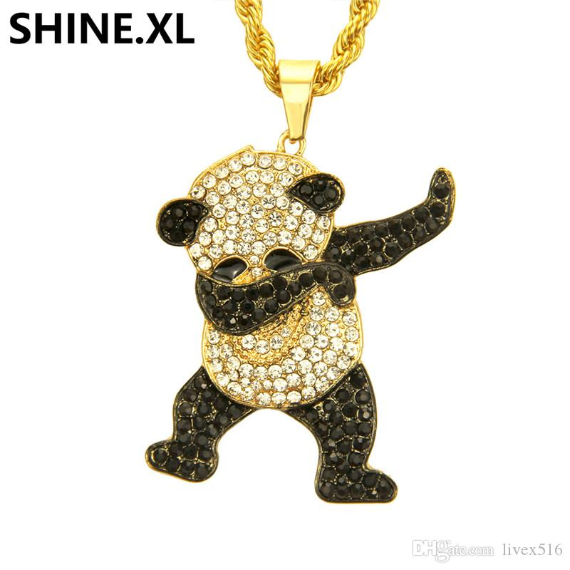 8f72cf3f3b2 Wholesale Hip Hop Stainless Steel Panda Necklace Iced Out Full Lab Diamond  Necklace Gold Color Plated Pendant Charm Chain For Women Men Gold Necklace  For ...