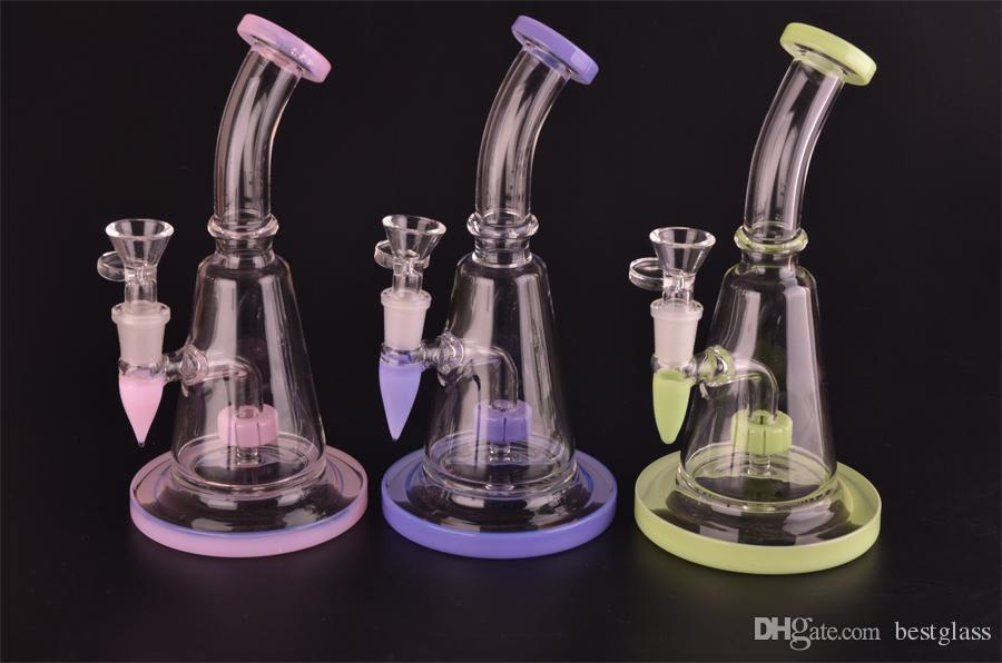 PINK color Glass bong shower head bongs water pipe with 14.5mm joint size bowl beaker shape have base H=21cm