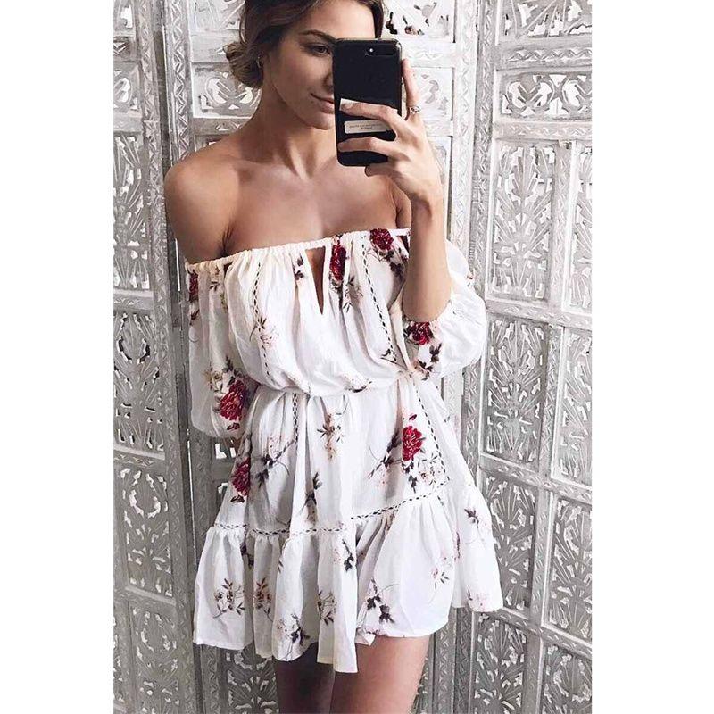 92b2c6ca0f Compre Vestido De Moda Para Mujer Ropa 2018 Estilo Boho Túnica Vestidos  Cortos Para Fiesta Elegante Cuello Slash Mujeres Blanco Vestidos De Verano  Tamaños ...