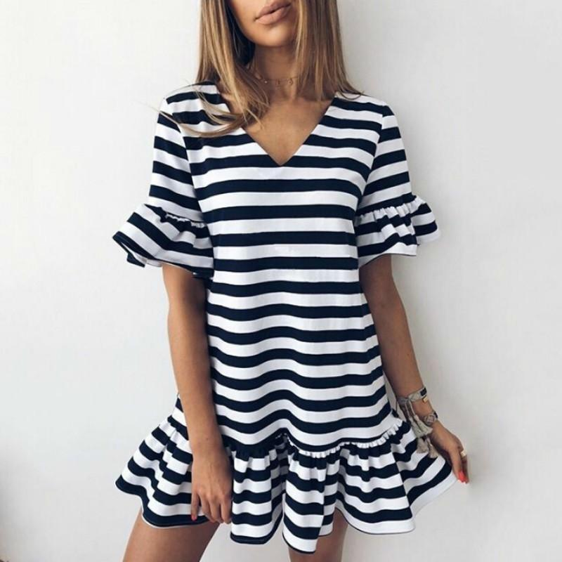 140e35a234 Casual Summer Women Sexy V Neck Flare Sleeve Striped Short Mini Dresses  Short Sleeve Ruffles Dress Vestidos 2018 New Online with $36.23/Piece on ...