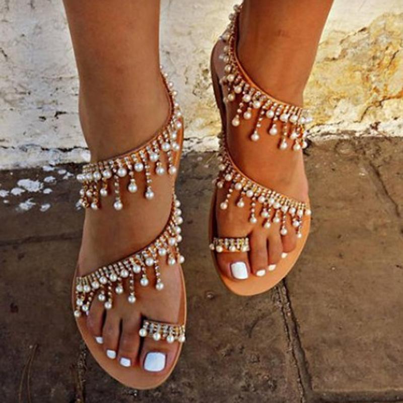 Sandales Nouvelles De Taille Perles Femmes Pantoufles D'été 43 Confortables Casual Cordes Chaussures 34 2018 Plates XwPkiTZlOu
