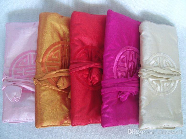 Chiński haft Happy Silk Travel Jewelry Roll Bag Makijaż Torba do przechowywania Sznurek Duża Kobiety Kosmetyczna Torba 3 Zamek
