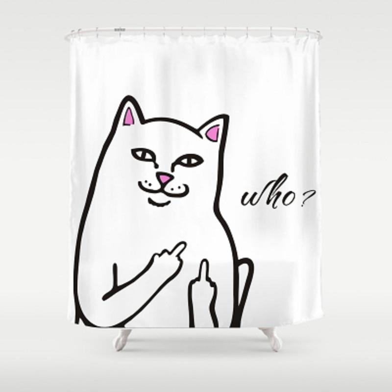2019 Multiple Size Cute Cartoon Cat Design Bathroom Shower Curtains