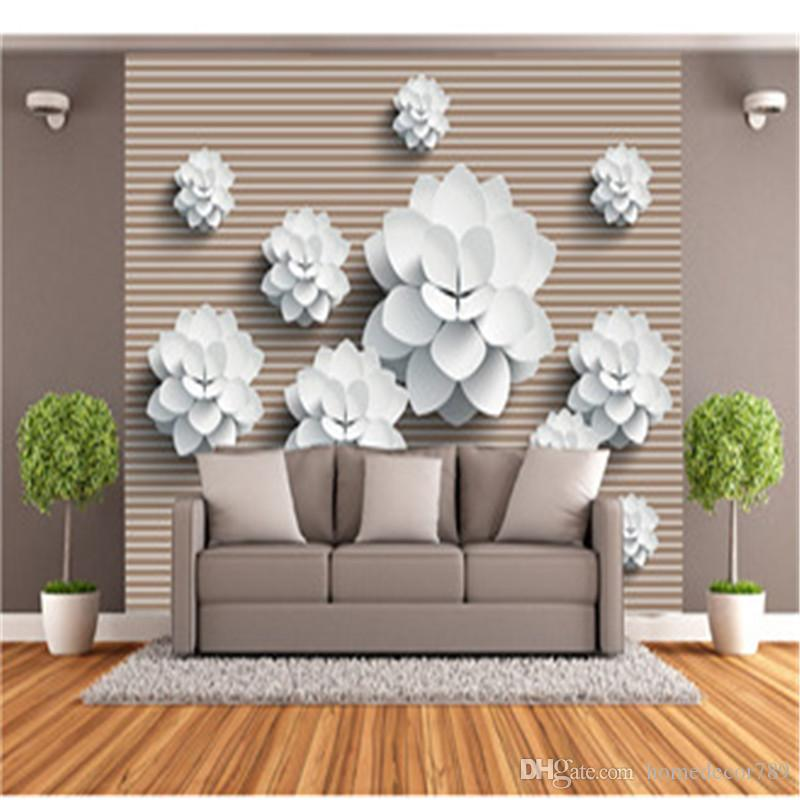 3D Custom Wallpapers Chinese Style Mural Flowers Photo Wall Papers Stripe Background Walls Murals for Living Room Home Decor