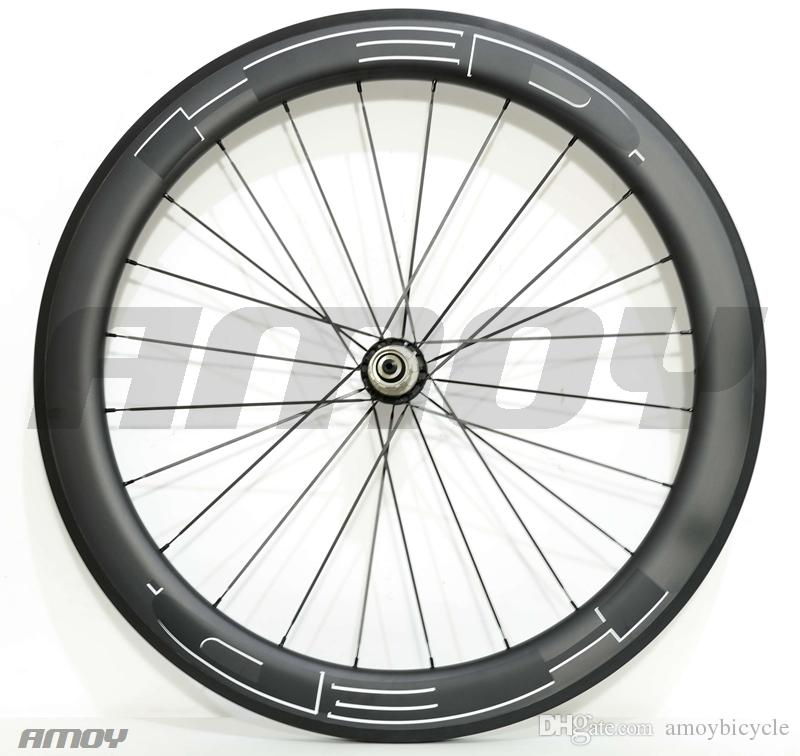 700C Profondeur 60mm Roues carbone de route Largeur 25mm Vélos de route / Roues en carbone tubulaire Jante en U Finition mate Décalcomanies blanches