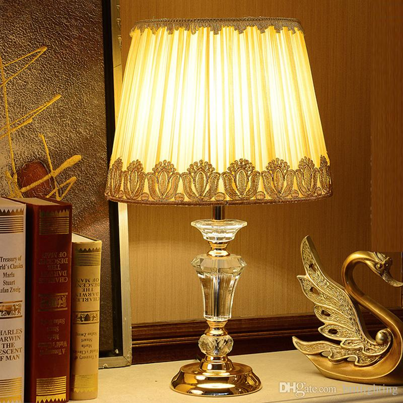 New Chinese Style Cloth Art Crystal Table Lamps Wedding Led Crystal