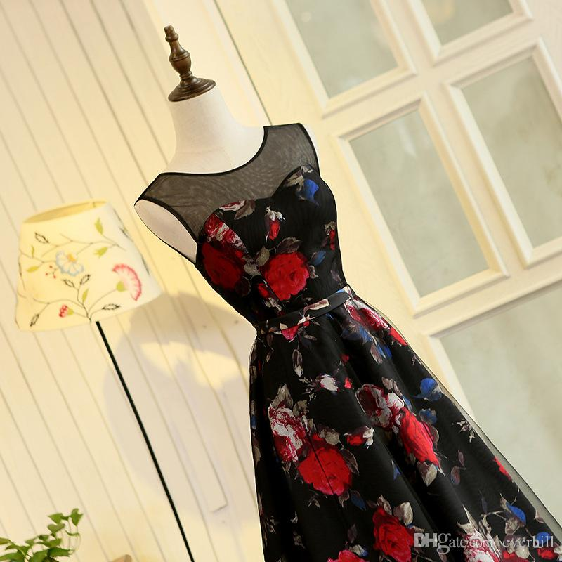 JaneVini 2018 Floral Print Long Prom Dresses Girls Evening Gowns Elegant Black Tulle Red Flowers Pattern Sleeveless Formal Party Gowns