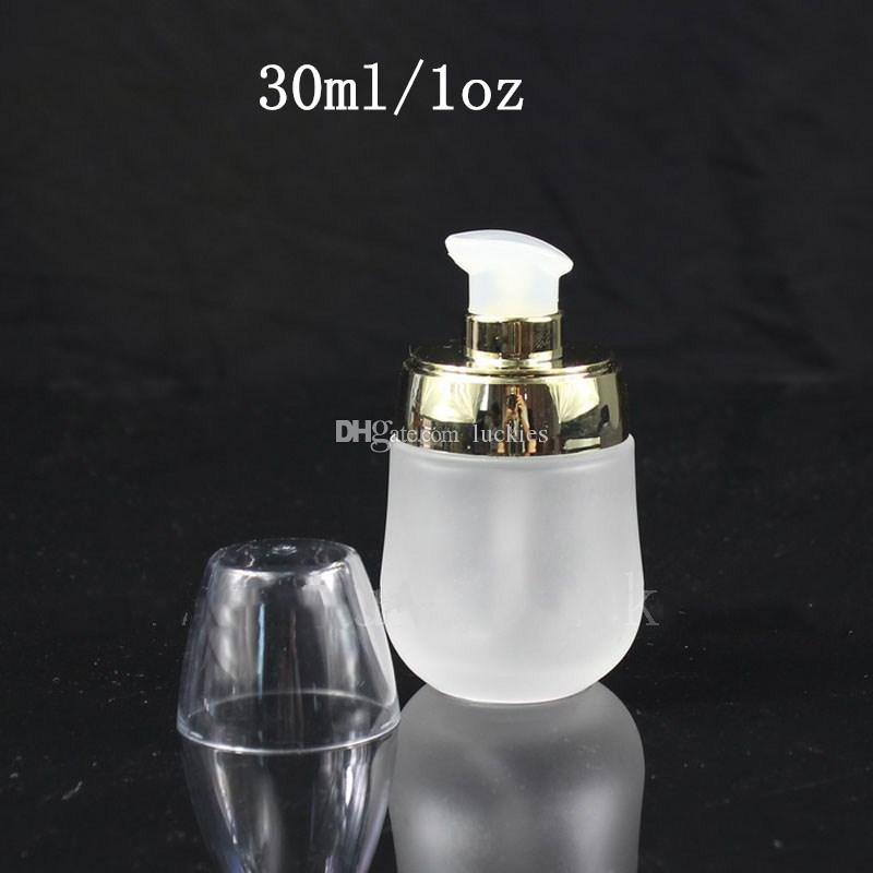 30ml 1oz Empty Refillable Frosted Glass Bottles Container Makeup Cosmetic Face Cream Lotion Jar Pot With Emulsion Pump 0140