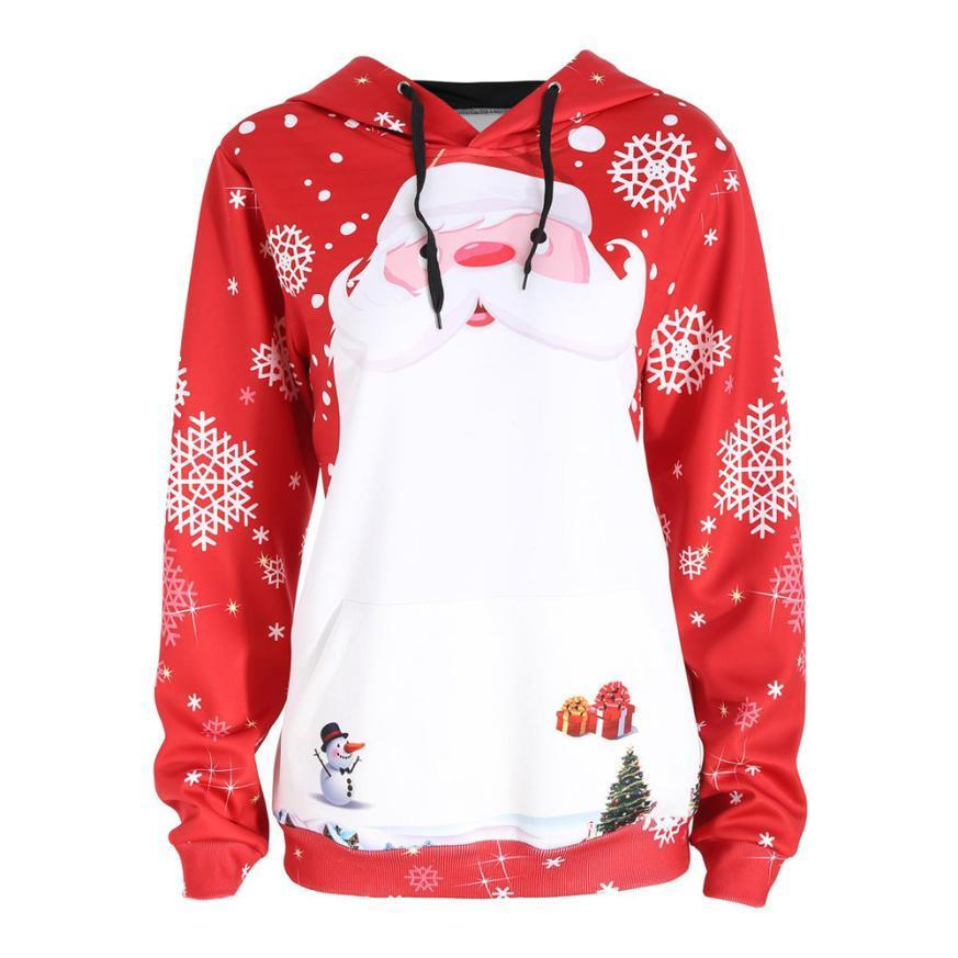 cbb5c7b95 Compre 2019 MUQGEW Nova Chegada Popular Estilo Popular Feliz Natal Mulheres  Papai Noel Tops Confortável Com Capuz Camisola Pullover Blusa De New33