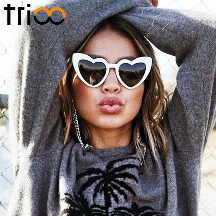 TRIOO Super Cute Women Sunglasses White Big Heart Shades Oversized Trending  Sun Glasses Eyewear Summer Fashion Oculos Lunette Sunglasses For Men ... fce671cb1