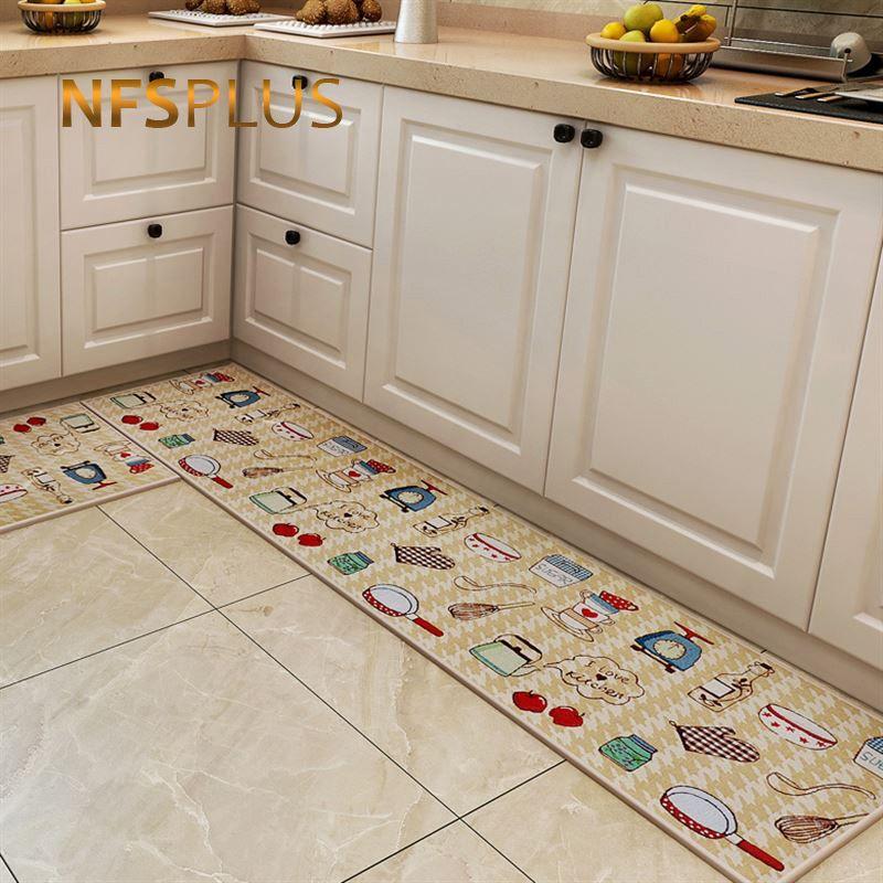 Long Kitchen Carpet Floor Mat Living Room Hallway Area Rugs Cotton PVC  Dotted Anti Slip