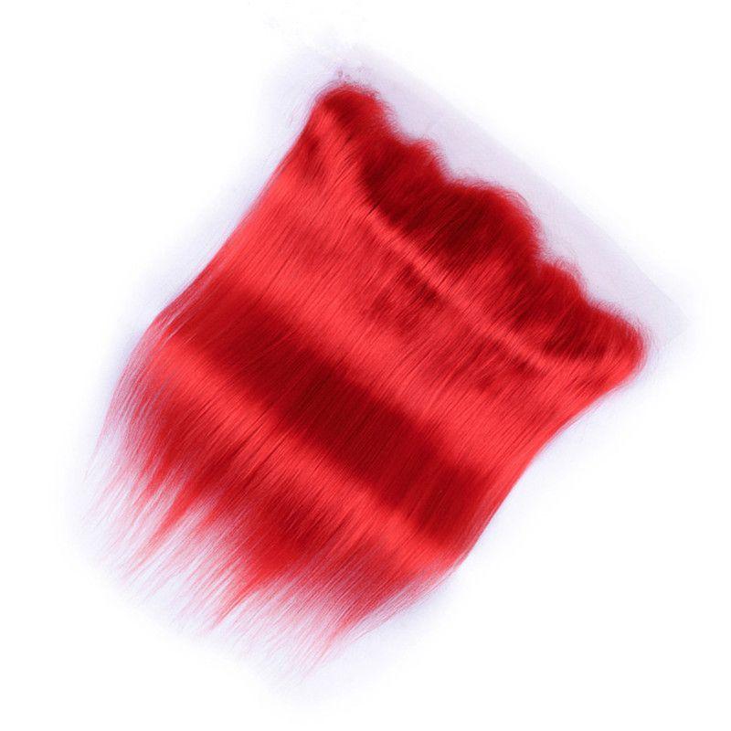 El cabello humano virgen brasileño puro rojo se teje con cierre frontal Seda recta de color rojo frontal completo de encaje 13x4 con 3 paquetes Ofertas
