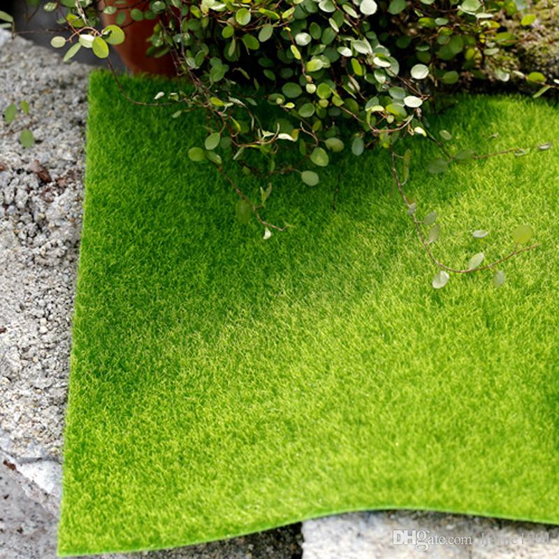 New Creative Artificial Grass Lawn 15*15cm Fairy Garden Miniature Gnome Moss Terrarium Bonsai Crafts Ecological Bottle Home Decoration