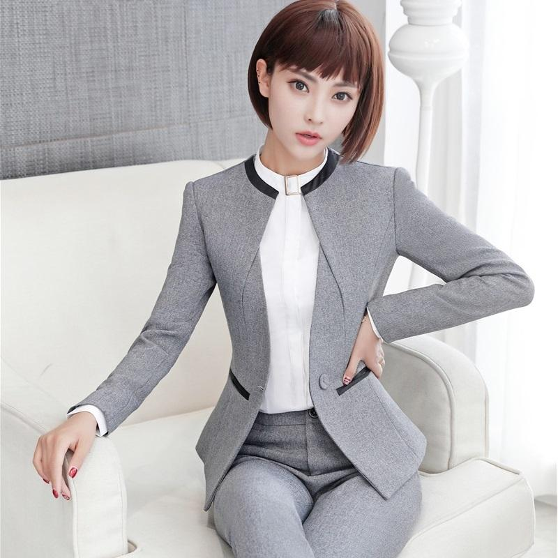 2019 Elegant Grey Formal Blazers OL Styles Autumn Winter Jackets Coat For  Ladies Office Outwear Female Tops Clothes Plus Size 4XL L18101303 From  Tai03 e8fcb5ec03dc