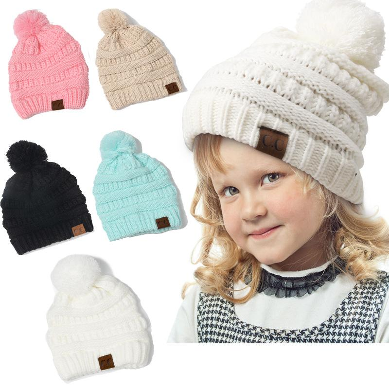 2019 Children Winter CC Beanies Hat Pom Pom Woolen Knitted Hats Baby Boys  Girls Skullies Beanie Warm Casual Kawaii Crochet Cap Kids From Gqinglang f1df4e968cc