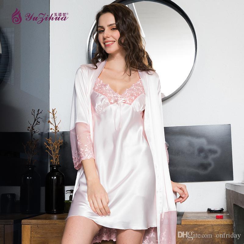 94774244a2ec2 ... Yuzihua Satin Robes Peignoir Gecelik Chemise De Nuit Robe De Nuit  Vêtements De Nuit Chemise De Nuit En Soie Robe De Nuit 2018 Nouvelle Robe  De Chambre ...